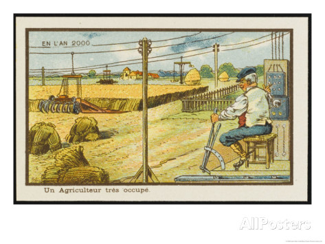 French Victorian postcard. The caption reads: In the year 2000 - the busy farmer. Image: Jean Marc Cote