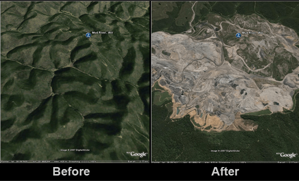 Before and after at a mountaintop removal site in Mud River, West Virginia. Source: Treehugger/Google Images