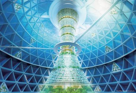 Blue Garden, interior view. The sphere would contain homes, stores, offices, a hotel and research facilities. Image: Shimizu Corporation