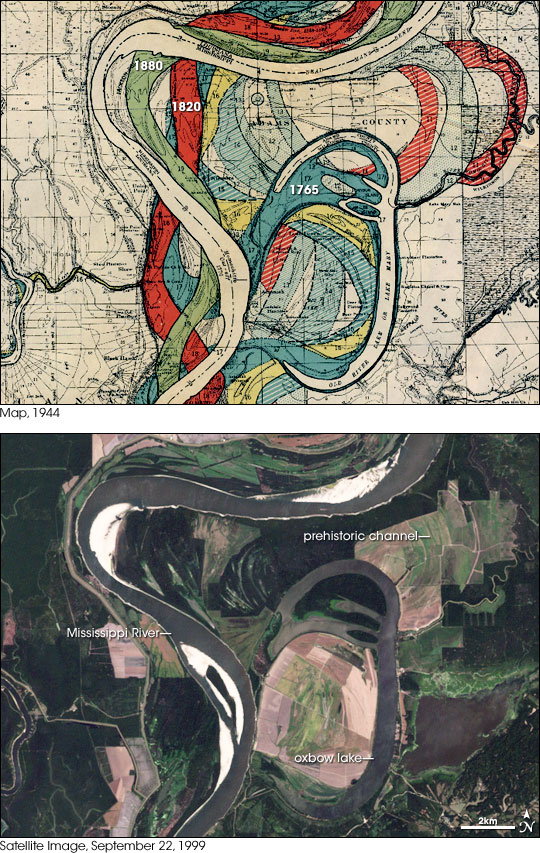 North of the Atchafalaya River. The 1999 satellite image shows an oxbow lake from 1785, created when a meander (a bend in the river) closes itself off to leave behind a crescent.  From the Geological Investigation of the Alluvial Valley of the Lower Mississippi River, published by the Army Corps of Engineers in 1944. Source: Earth Observatory