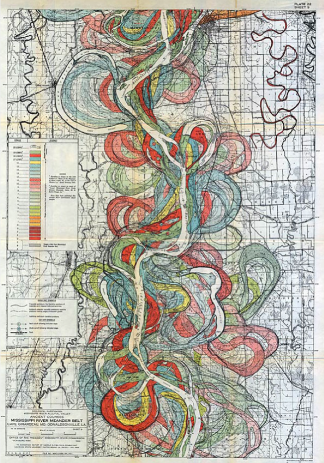 Section of the 1944 Mississippi River Meander Belt. For more, visit here. Source: VisualNews