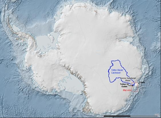 The Totten Glacier catchment basin (blue outline) is three-quarters the size of Texas and holds the ice and snow that flows through the glacier. Credit: Australian Antarctic Division via LiveScience