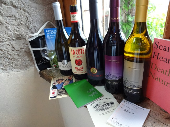 Ingredients for an excellent day: My wine pouch and glass - which I carried safely in a backpack rather than around my neck. The green wine passport, the wines, my train ticket, and a bit of old Seamus Heaney for reading on the train. Not seen here: the companionship of friends.