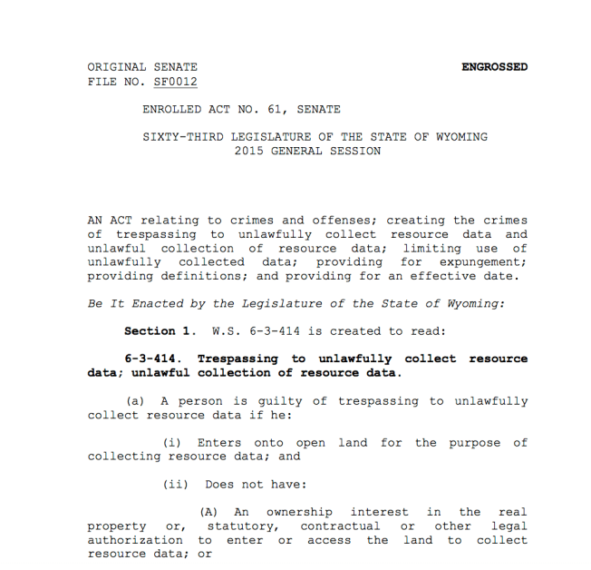 The first page of Wyoming bill WY SF0012, passed in March 2015.