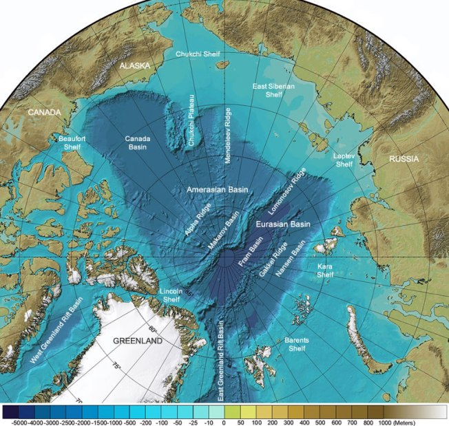 Arctic Ocean Seafloor Features Map: International Bathymetric Chart of the Arctic Ocean annotated with the names of seafloor features.  Caption/Image: Geology.com