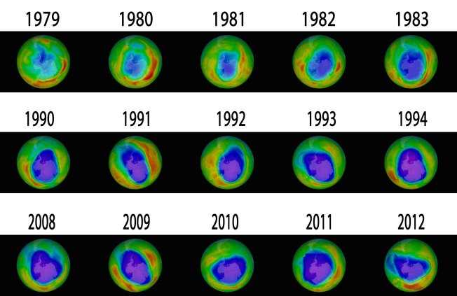 Images of the Antarctic ozone hole. If current trends continue, the hole is expected to close by 2040. Images/graphic: NASA Goddard Space Flight Center/ Business Insider