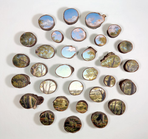Through the Woods - Oil on 31 log sections (1996) Artist: Alison Moritsugu