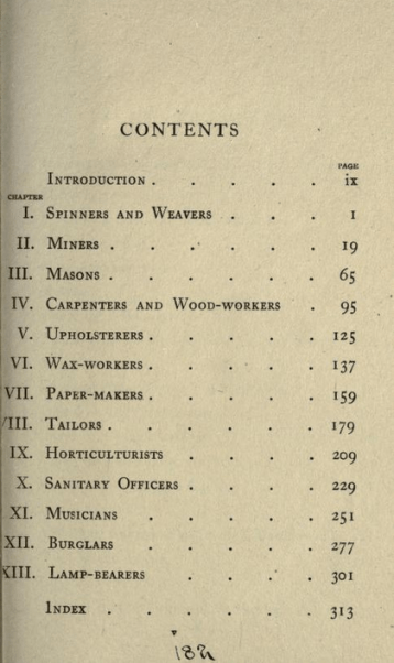 Table of Contents from Insect artizans and their work, by Edward Step, with 54 illustrations on art paper. (1919)