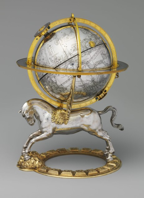 """Celestial Globe with Clockwork (Vienna, 1579), by Gerhard Emmoser.  the globe originally rotated, powered by an internal movement, and an image of the sun moved along the path of the ecliptic. Use of the mythological winged Pegasus to support the celestial sphere conveys a Renaissance idea that """"the wings of the human mind"""" support the science of astronomy. Image/caption: Metropolitan Museum of Art"""