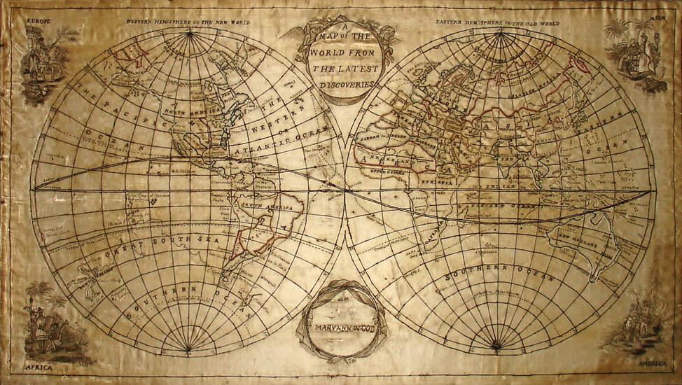 needlepoint, globe, cartography, history, needlepoint, embroidery