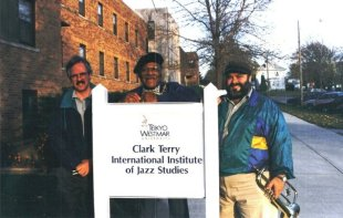 Cliff McMurray, Clark Terry, & Stephen Fulton. In front of the school.