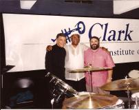 Louie Bellson, Clark Terry, and Stephen Fulton after a rehearsal.