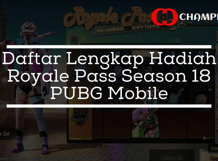 Daftar Lengkap Hadiah Royale Pass Season 18 PUBG Mobile