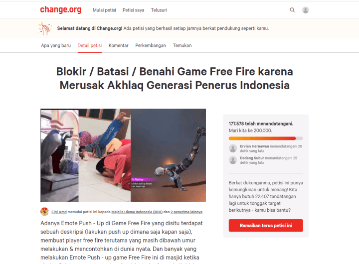 Petisi Blokir Game Free Fire