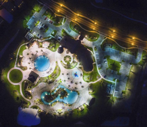 night time picture of the oasis at championsgate