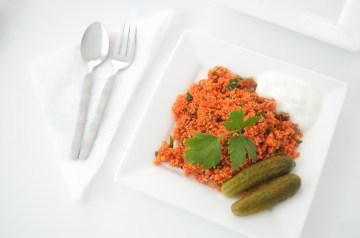 Shrimp With Feta over Couscous
