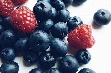 Raspberries and Blueberries With Honey Zabaglione