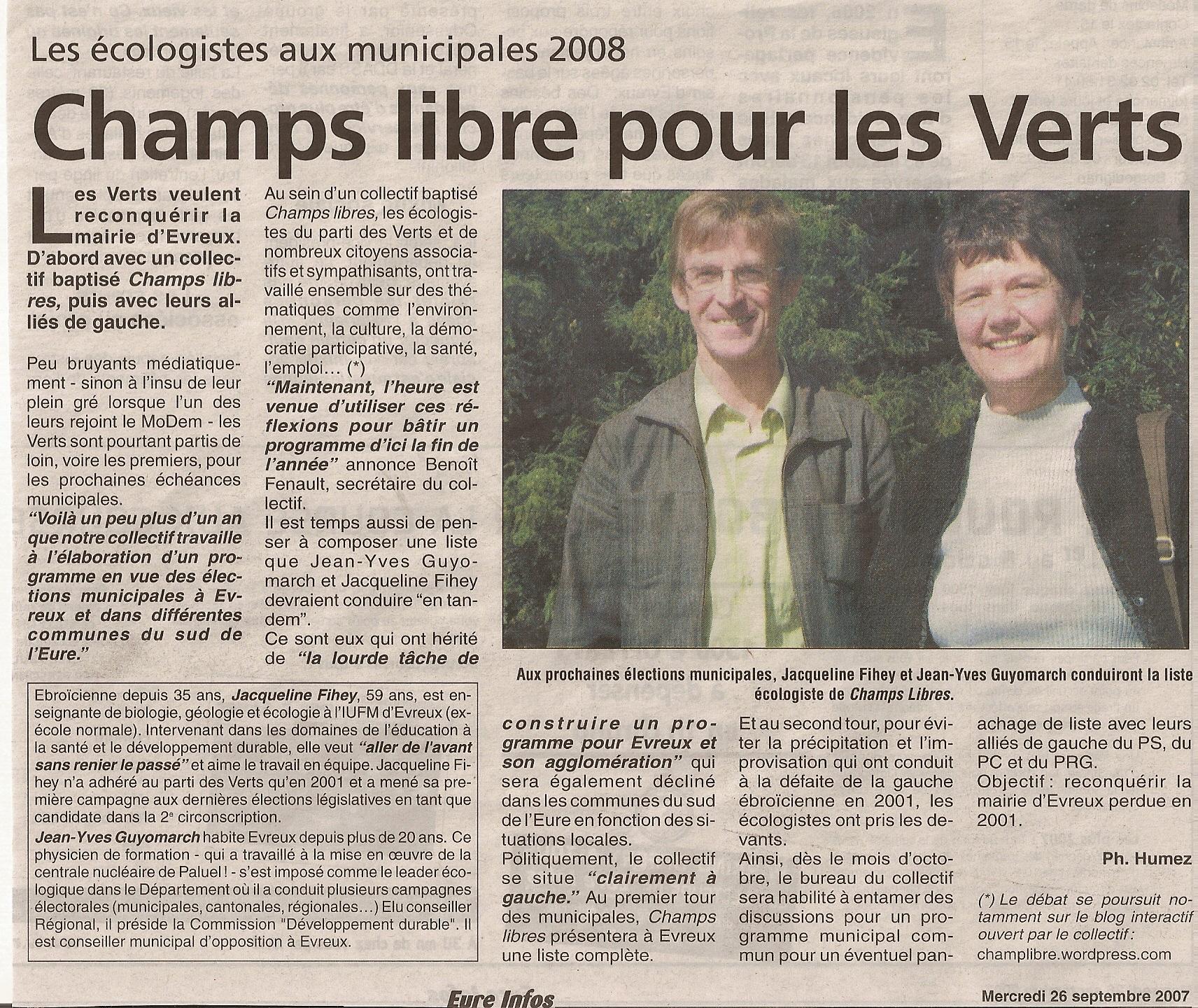 Eure info 26 septembre 2007 - Conférence de lancement de la campagne des élections municipales de Champs Libres àEvreux