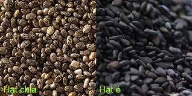 Hạt chia nhỏ hơn hạt é, kích thước của hạt chia chỉ bằng ½ hạt mè. Trên hạt chia có vân sọc,