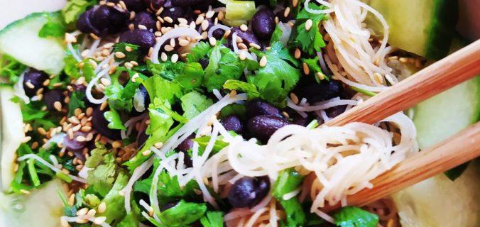 vermicelles riz haricots noirs