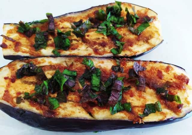 aubergines gratinées au doenjang
