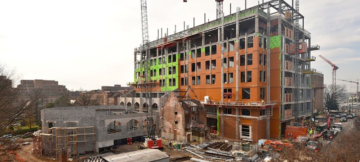 Construction at the former Strong Hall site
