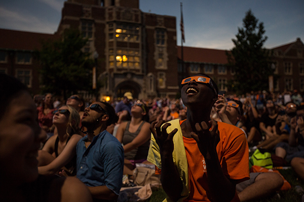 Students watching the solar eclipse on Ayres lawn