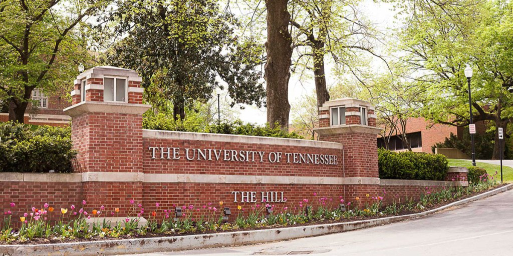 Brick wall signage for UT Knoxville and The Hill
