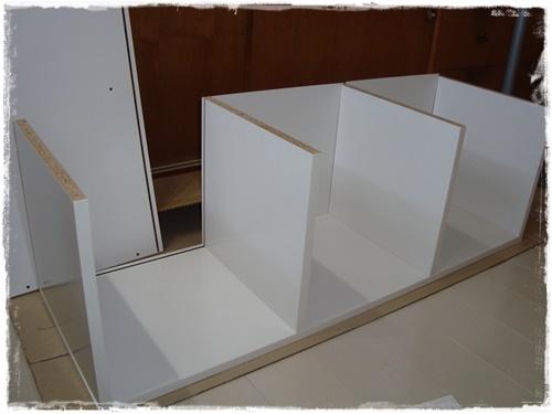 カラーボックスは背板を入れるところまで作ります。