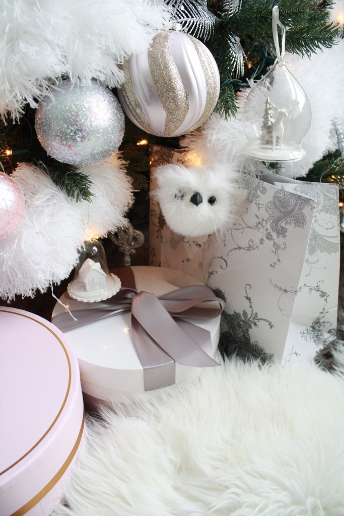 Glam Christmas home decor - fluffy owl ornament and gifts under tree