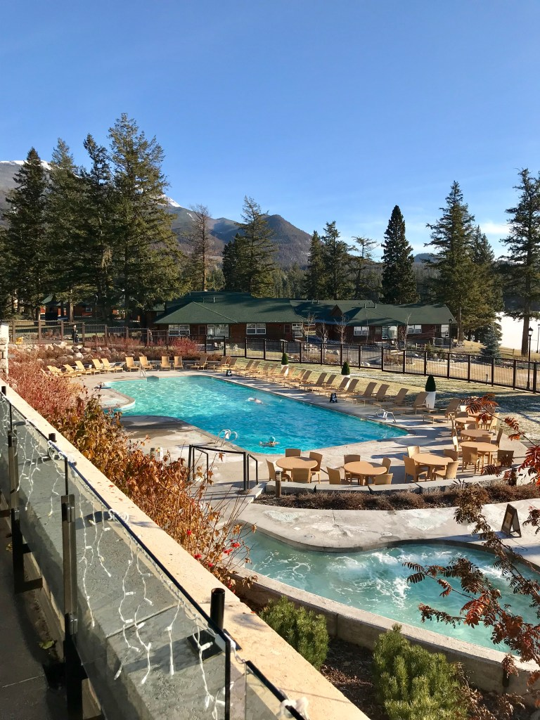 Taking in the heated outdoor pool at Jasper Park Lodge during the Christmas in November event