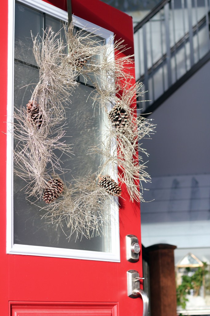 Welcoming red front door - Glam Christmas home decor