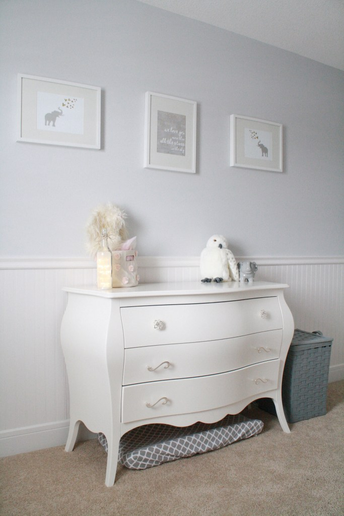 Pink and gray nursery with Natart Juvenile Allegra Dresser
