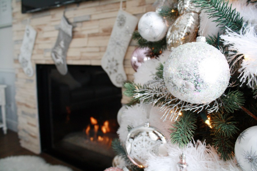 Pier 1 stockings by fireplace - Glam Christmas home decor tour