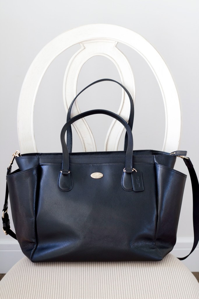 Coach black leather diaper bag - 10 Favourite Baby Items - Baby shower gift ideas - Baby Christmas gift ideas - Best baby items on Chandeliers and Champagne
