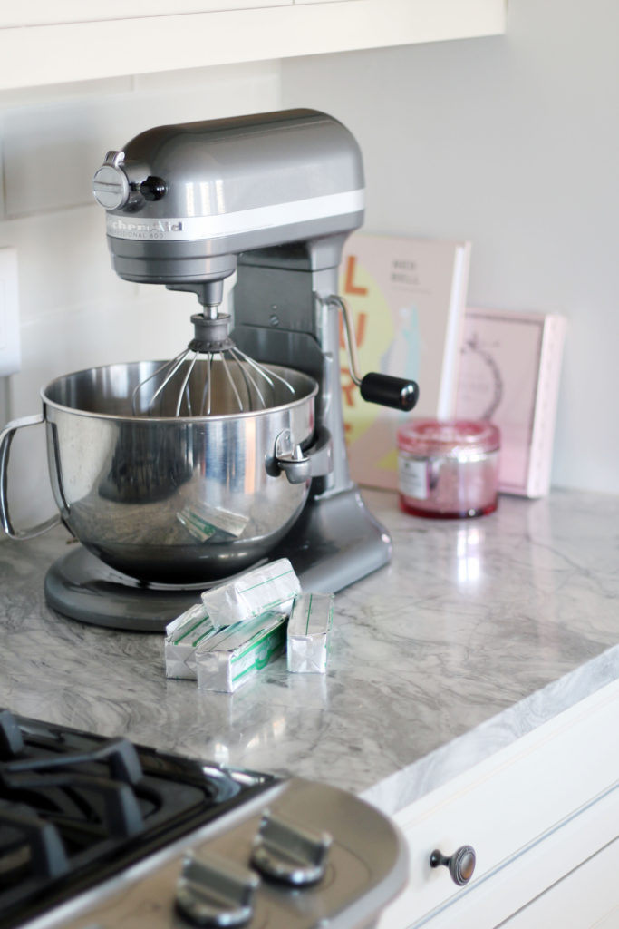 Kitchenmaid Stand Mixer to make pink Christmas tree cupcakes - easy, fun, glam Christmas baking - cute cupcakes that look like snowy Christmas trees!