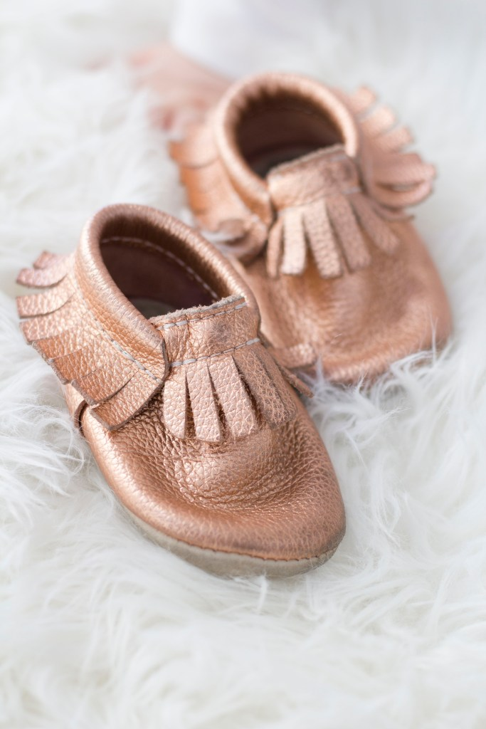 Rose Gold Baby Moccasins - 10 Favourite Baby Items - Baby shower gift ideas - Baby Christmas gift ideas - Best baby items on Chandeliers and Champagne
