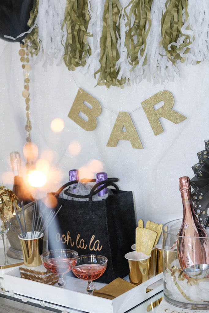 New Year's Eve bar cart styling ideas on Chandeliers and Champagne - Add some ooh la la to your New Year's Ever 2018 with a styled bar cart
