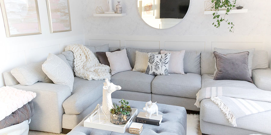 Light and Bright Kid-Friendly Living Room • Grey, gold and blush ...