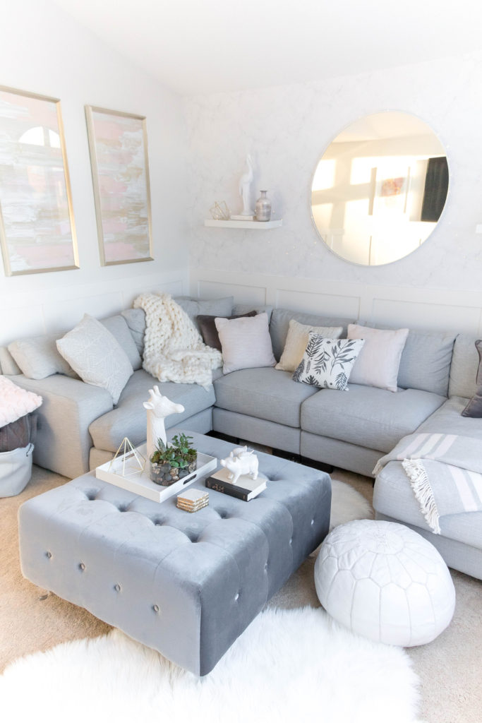 Light And Bright Kid Friendly Living Room Grey Gold