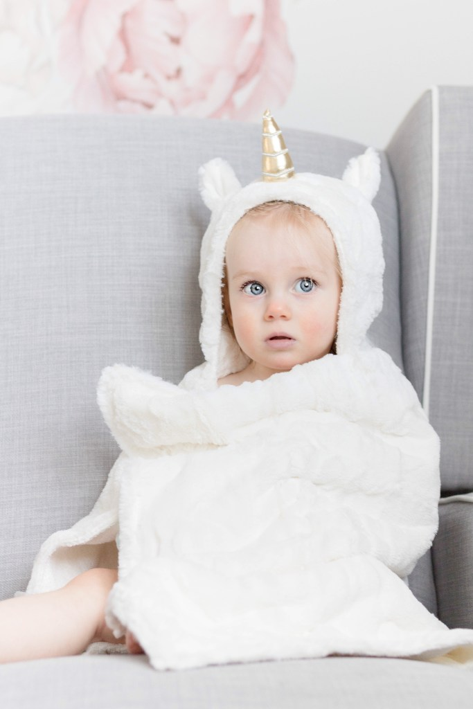 The cutest Valentine's Day outfits for baby girls - unicorn blanket by Pottery Barn Kids