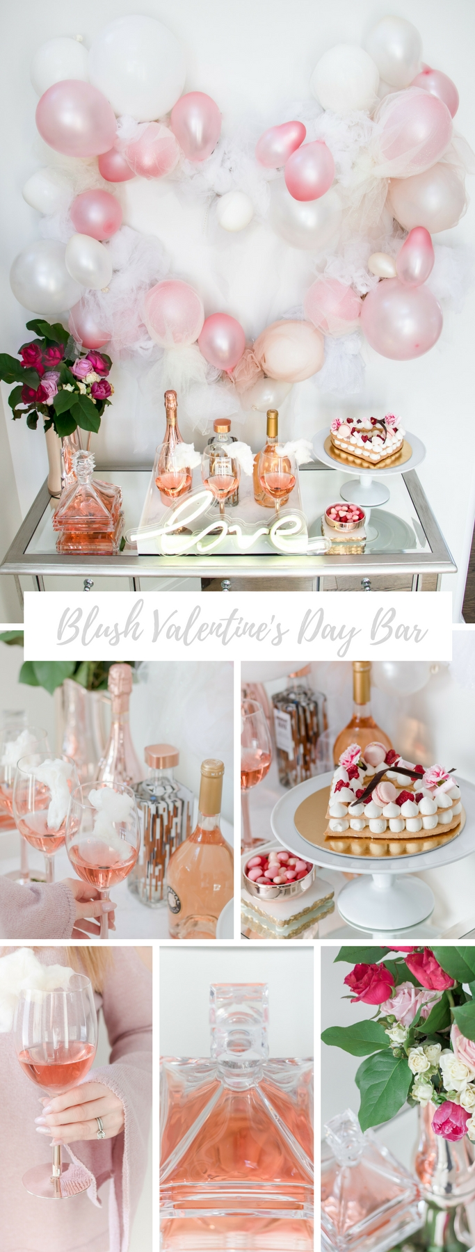Blush pink Valentine's Day bar with tulle balloon heart and swoon worthy rose details