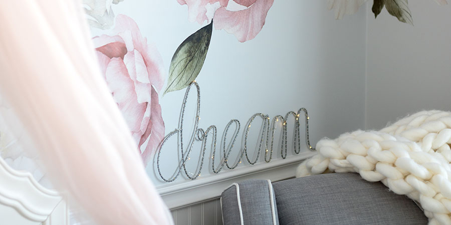 Rocky Mountain wall decals in dreamy baby girl nursery