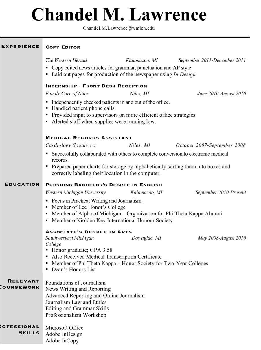 Journalism Internship Resume. mistakes that doom a college s ...