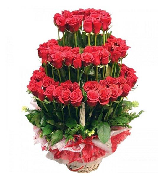 CF 100 Red Roses Basket
