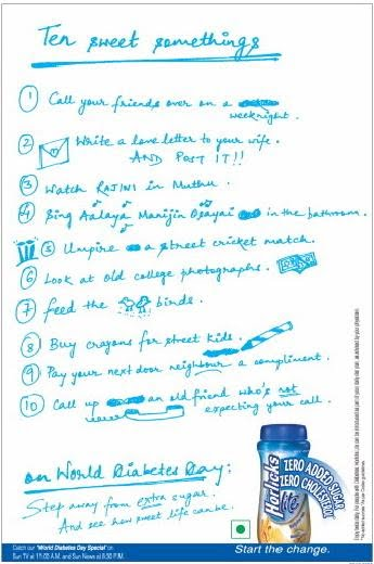 Horlicks Sweet Nothings World Diabetes Day Print Ad