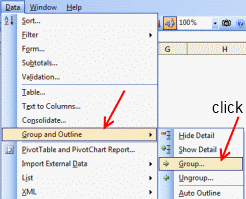 Group / Ungroup Data - Excel 2003