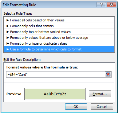 Conditional Formatting Rules to highlight cells based on payment mode