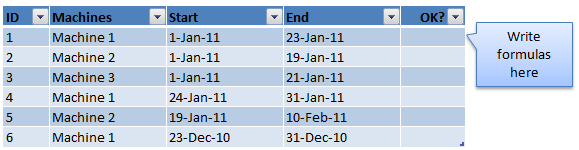 Excel Challenge #1 - Find overlaps in machine scheduling dates
