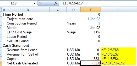 Calculating Project Cash flows - Project finance modeling in Excel